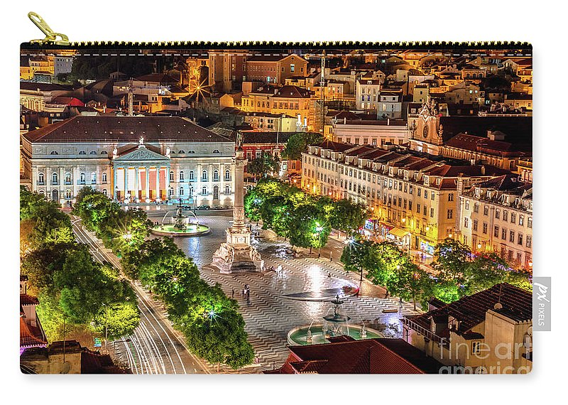 Lisbon Carry-all Pouch featuring the photograph Rossio Square Night by Benny Marty