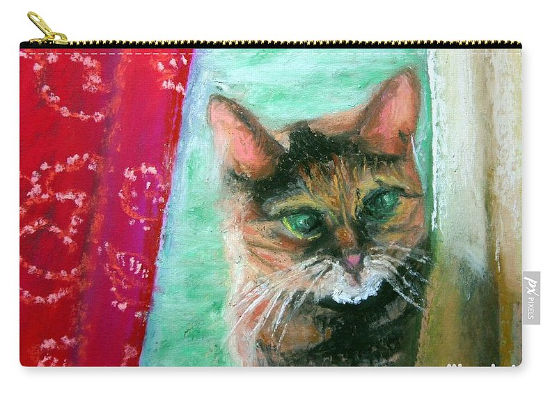 Cat Carry-all Pouch featuring the painting Rosy In Color by Minaz Jantz