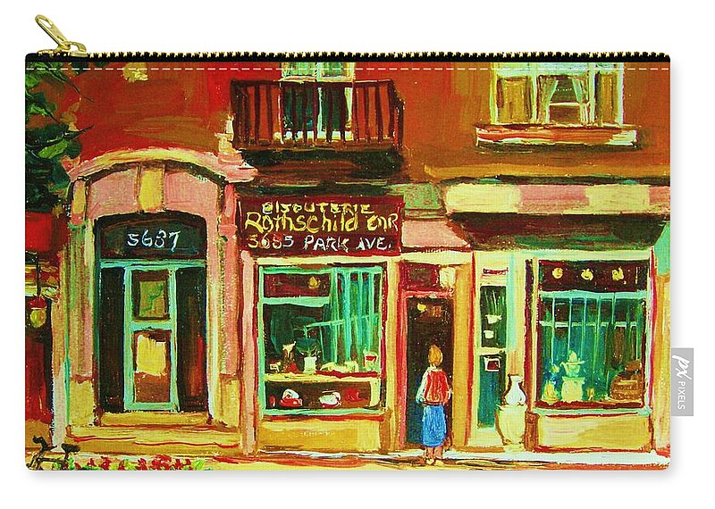 Montreal Carry-all Pouch featuring the painting Rothchilds Jewellers On Park Avenue by Carole Spandau