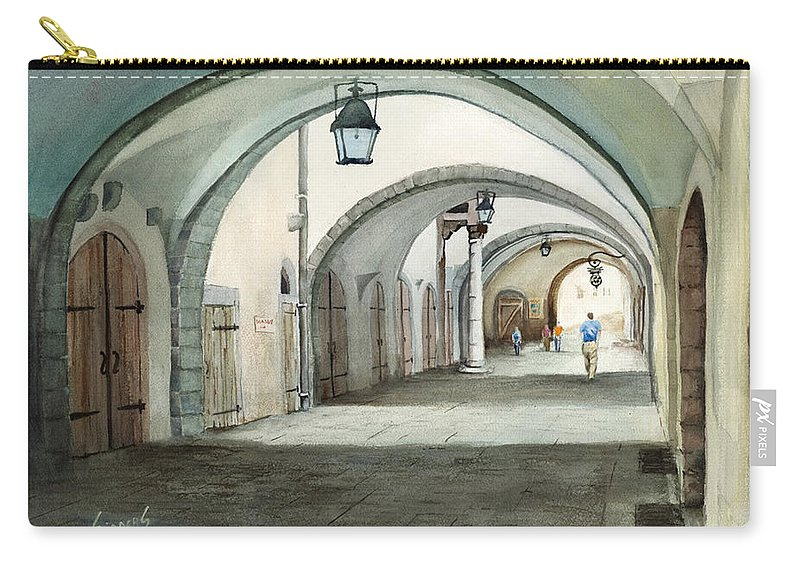Germany Carry-all Pouch featuring the painting Rothenburg Backstreet by Sam Sidders