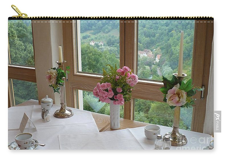 Rothenburg Carry-all Pouch featuring the photograph Rothenburg Dining With A View by Carol Groenen