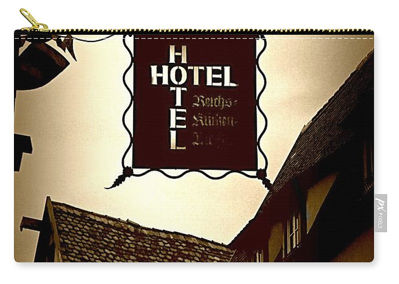 Hotel Sign Carry-all Pouch featuring the photograph Rothenburg Hotel Sign - Digital by Carol Groenen