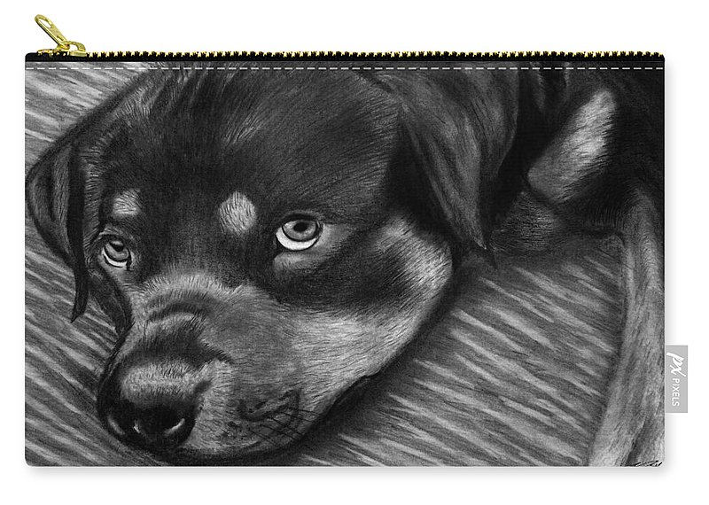 Rot Wilier Carry-all Pouch featuring the drawing Rotty by Peter Piatt