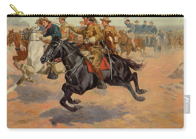 John Norval Marchand Carry-all Pouch featuring the painting Rough Riders Cavalry by John Norval Marchand