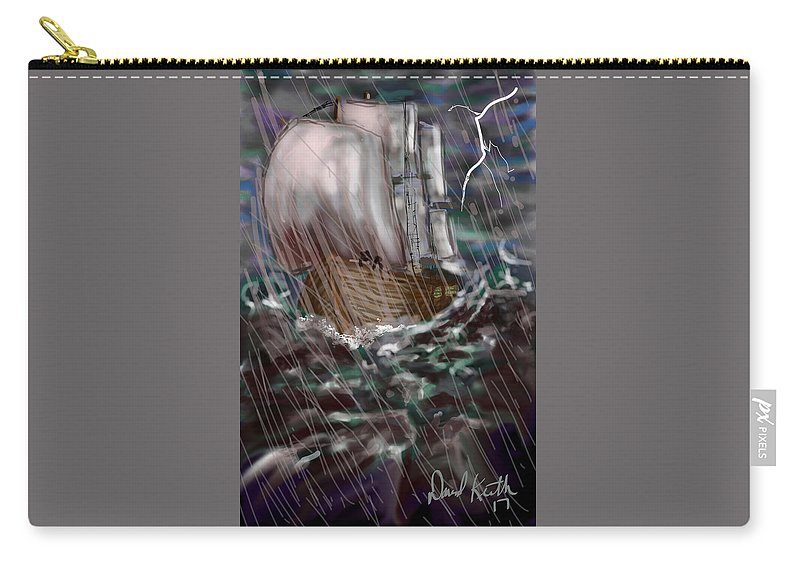Waves Night Sail Ship Lightening Danger Peril Settlers Pioneers Pilgrims Old Country Indians New World Oceanic  Carry-all Pouch featuring the digital art Rough Sea by David R Keith