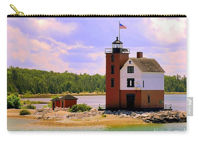 Mackinac Island Carry-all Pouch featuring the painting Round Island Lighthouse by Betsy Foster Breen