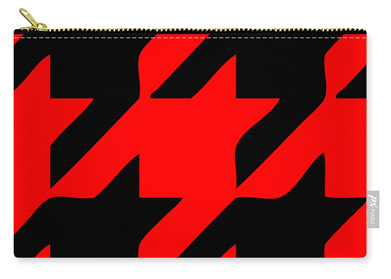 Houndstooth Carry-all Pouch featuring the digital art Rounded Houndstooth Black Pattern 02-p0123 by Custom Home Fashions