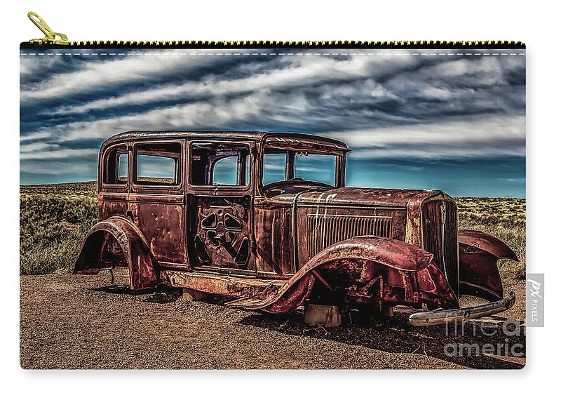 Antique Carry-all Pouch featuring the photograph Route 66 Car by Jon Burch Photography