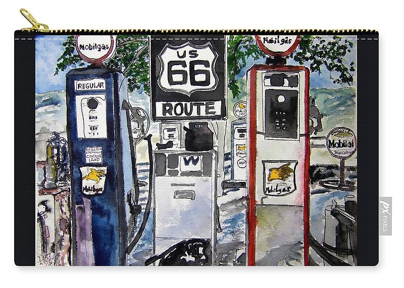 Route 66 Carry-all Pouch featuring the painting Route 66 by Derek Mccrea