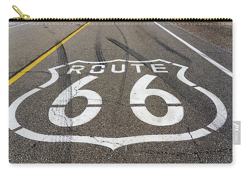 Route Carry-all Pouch featuring the digital art Route 66 Highway Sign by Stevie Benintende