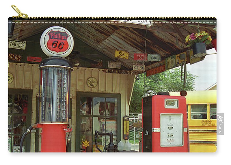 66 Carry-all Pouch featuring the photograph Route 66 - Shea's Gas Station by Frank Romeo