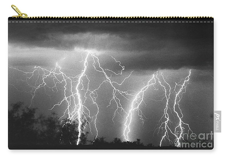 Lightning Carry-all Pouch featuring the photograph Route 666-signed by J L Woody Wooden