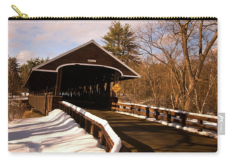 new England Covered Bridges Carry-all Pouch featuring the photograph Rowell Bridge by Paul Mangold