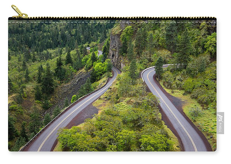 Rowena Carry-all Pouch featuring the photograph Rowena Crest Loops - Oregon by Gary Whitton