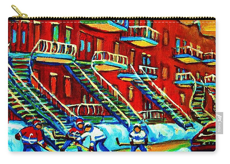 Hockey Carry-all Pouch featuring the painting Rowhouses And Hockey by Carole Spandau