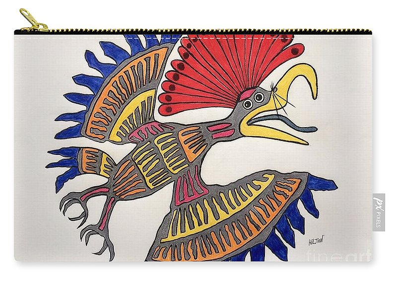 Nature Bird Royal Northern Flycatcher Mayan Carry-all Pouch featuring the pastel Royal Flycatcher- Mayan 2 by Graham Wallwork