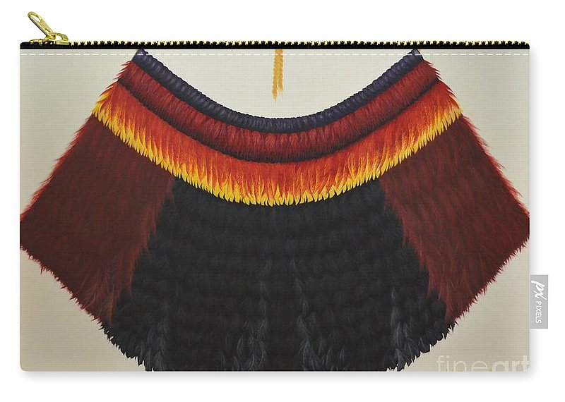 Hawaiian Carry-all Pouch featuring the painting Royal Hawaiian Feather Cape by Mary Deal