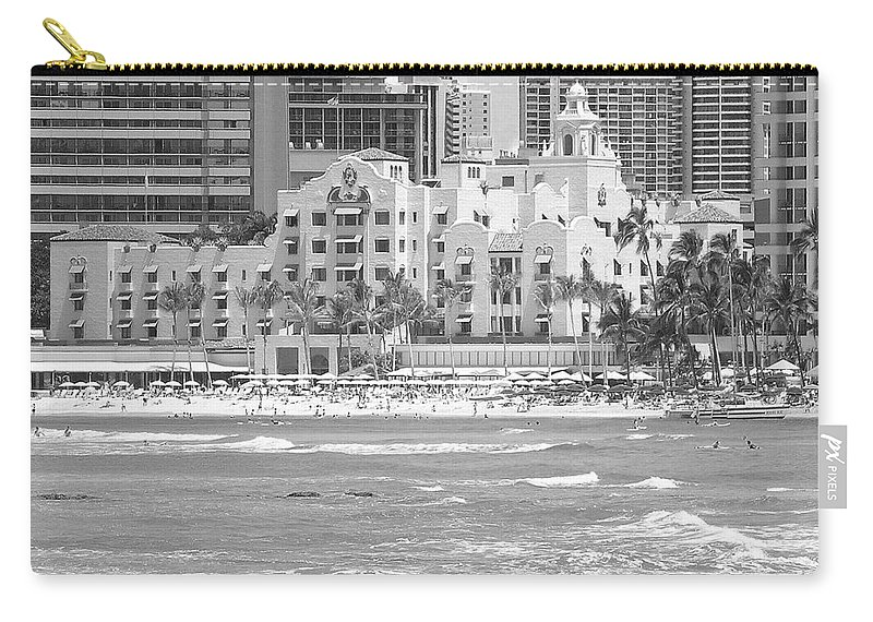 Black And White Carry-all Pouch featuring the photograph Royal Hawaiian Hotel - Waikiki by Mary Deal