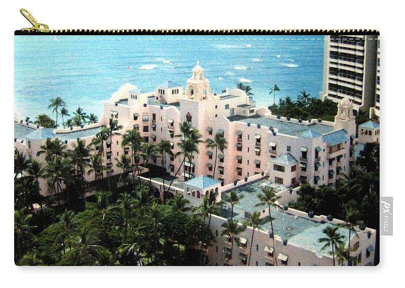 1986 Carry-all Pouch featuring the photograph Royal Hawaiian Hotel by Will Borden