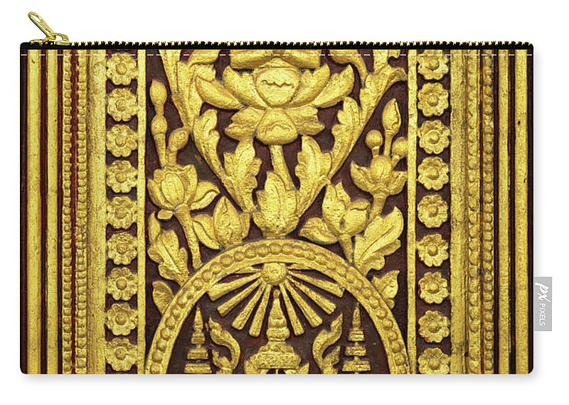 Cambodia Carry-all Pouch featuring the photograph Royal Palace Gilded Door 01 by Rick Piper Photography