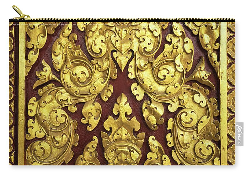 Cambodia Carry-all Pouch featuring the photograph Royal Palace Gilded Door 02 by Rick Piper Photography