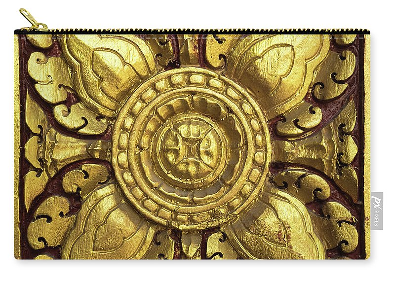 Cambodia Carry-all Pouch featuring the photograph Royal Palace Gilded Door 04 by Rick Piper Photography