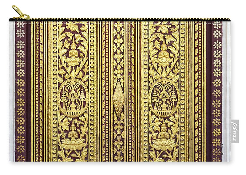 Cambodia Carry-all Pouch featuring the photograph Royal Palace Gilded Doors by Rick Piper Photography