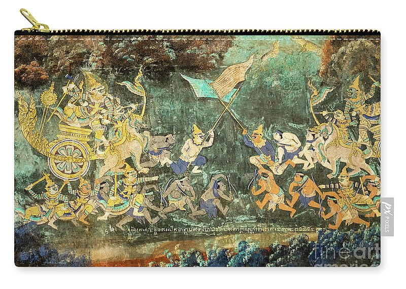 Cambodia Carry-all Pouch featuring the photograph Royal Palace Ramayana 14 by Rick Piper Photography