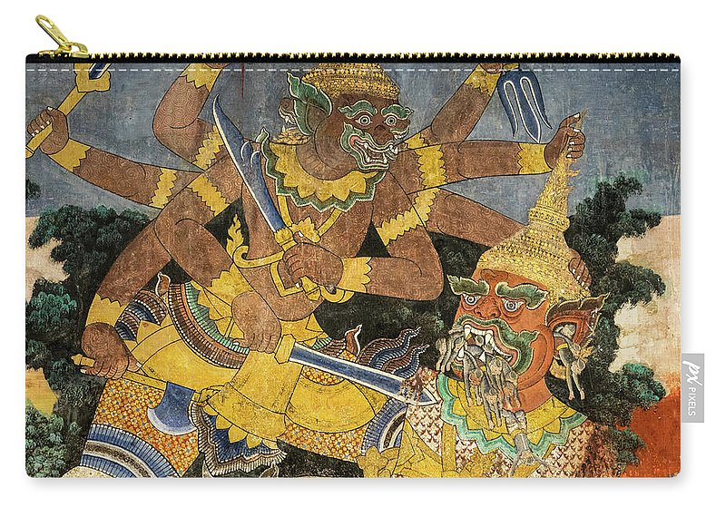Cambodia Carry-all Pouch featuring the photograph Royal Palace Ramayana 22 by Rick Piper Photography