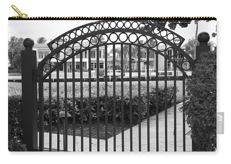 Gate Carry-all Pouch featuring the photograph Royal Palm Gate by Rob Hans
