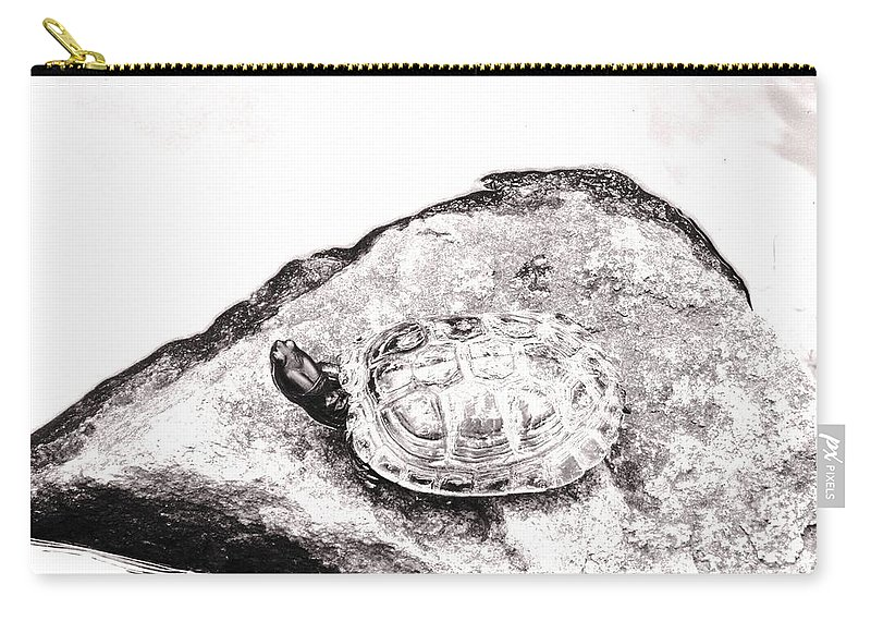 Pond Carry-all Pouch featuring the photograph Rubbernecking Pond Turtle by Deborah Crew-Johnson