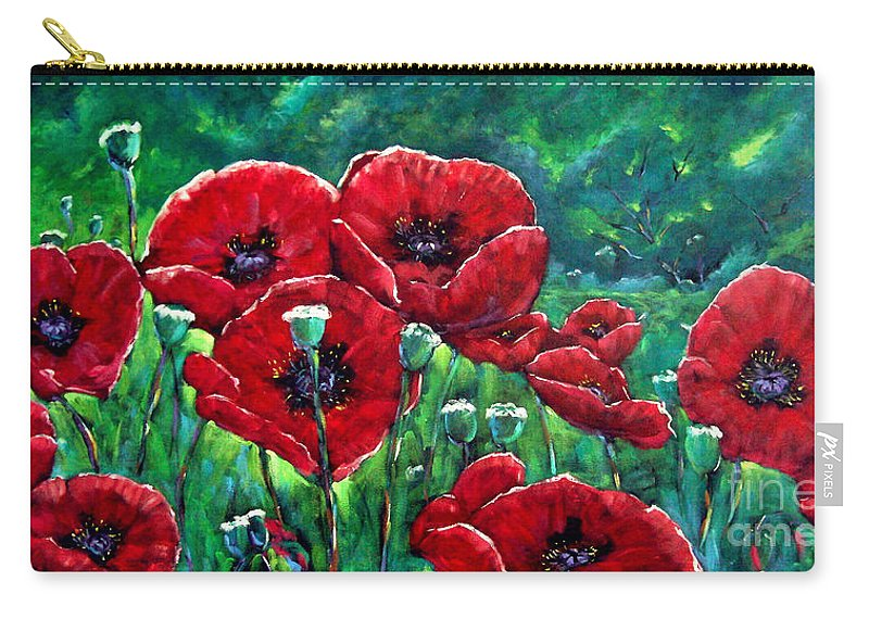 Forest Carry-all Pouch featuring the painting Rubies In The Emerald Forest by Richard T Pranke