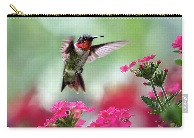 Hummingbird Carry-all Pouch featuring the photograph Ruby Garden Jewel by Christina Rollo