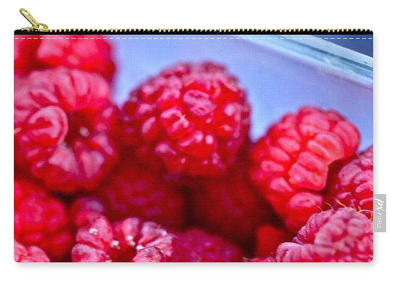 Red Carry-all Pouch featuring the photograph Ruby Raspberries by Nadine Rippelmeyer