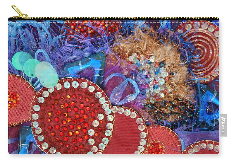 Carry-all Pouch featuring the mixed media Ruby Slippers 3 by Judy Henninger