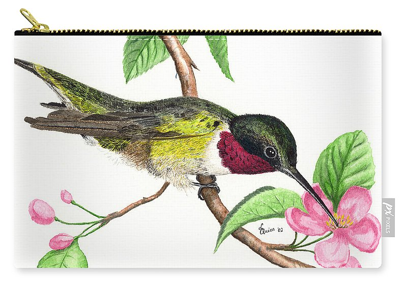 Hummingbird Carry-all Pouch featuring the painting Ruby-throated Hummingbird by Lynn Quinn
