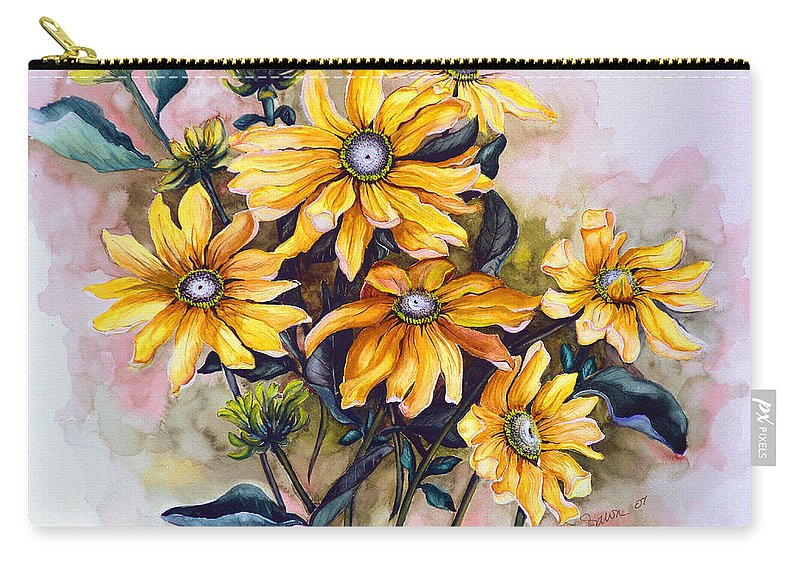 Flower Painting Sun Flower Painting Flower Botanical Painting  Original Watercolor Painting Rudebeckia Painting Floral Painting Yellow Painting Greeting Card Painting Carry-all Pouch featuring the painting RUDBECKIA Prairie Sun by Karin Dawn Kelshall- Best