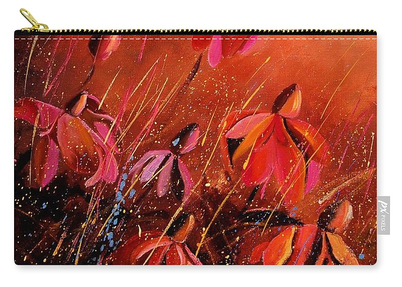 Poppies Carry-all Pouch featuring the painting Rudbeckia's 45 by Pol Ledent