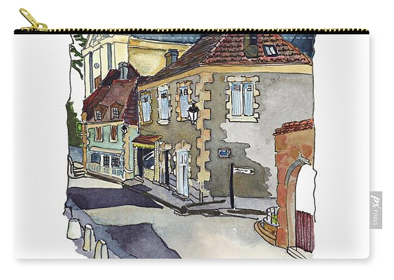 Dordogne Village Carry-all Pouch featuring the painting Rue Font St Jean, Ste Alvere, Dordogne by Joan Cordell