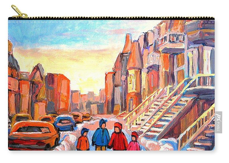 Rue Hotel De Ville Montreal Carry-all Pouch featuring the painting Rue Hotel De Ville Montreal by Carole Spandau