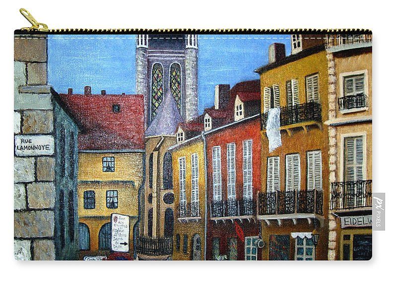 Street Scene Carry-all Pouch featuring the painting Rue Lamonnoye In Dijon France by Nancy Mueller