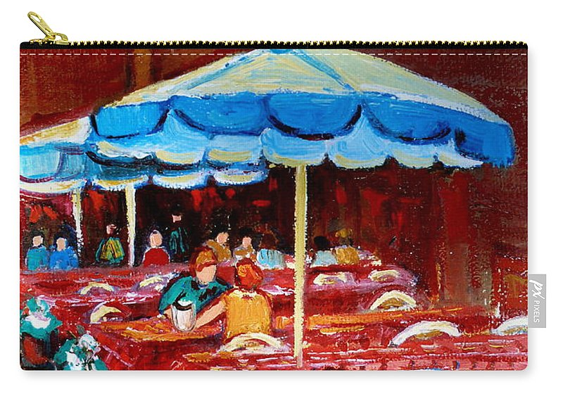 Rue Prince Arthur Carry-all Pouch featuring the painting Rue Prince Arthur by Carole Spandau