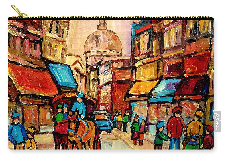 Montreal Streets Carry-all Pouch featuring the painting Rue St Jacques Old Montreal Streets by Carole Spandau