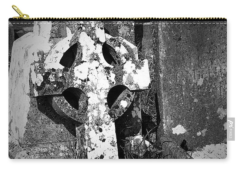 Celtic Carry-all Pouch featuring the photograph Rugged Cross at Fuerty Cemetery Roscommon Ireland by Teresa Mucha