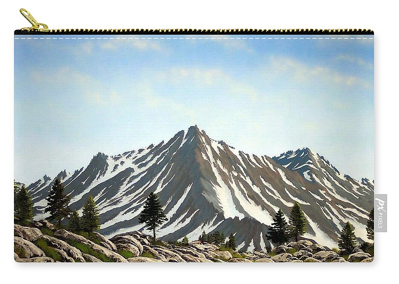 Mountians Carry-all Pouch featuring the painting Rugged Peaks by Frank Wilson