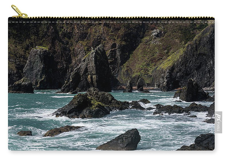 Cliffs Carry-all Pouch featuring the photograph Rugged South Coast by Robert Potts