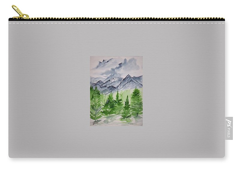 Plein Air Carry-all Pouch featuring the painting Ruidoso NM southwestern mountain landscape watercolor painting poster print by Derek Mccrea