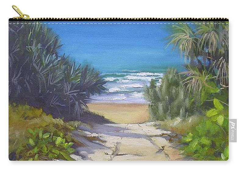 Beach Painting Carry-all Pouch featuring the painting Rules Beach Queensland Australia by Chris Hobel
