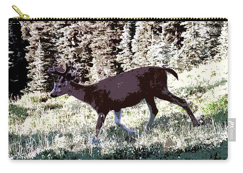 Deer Carry-all Pouch featuring the painting Running Deer by David Lee Thompson