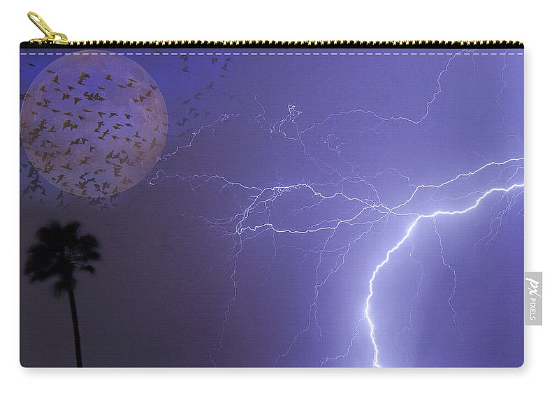 Lightning Carry-all Pouch featuring the photograph Running From The Storm by James BO Insogna